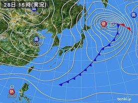 実況天気図(2016年11月28日)