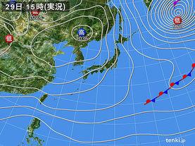 実況天気図(2016年11月29日)