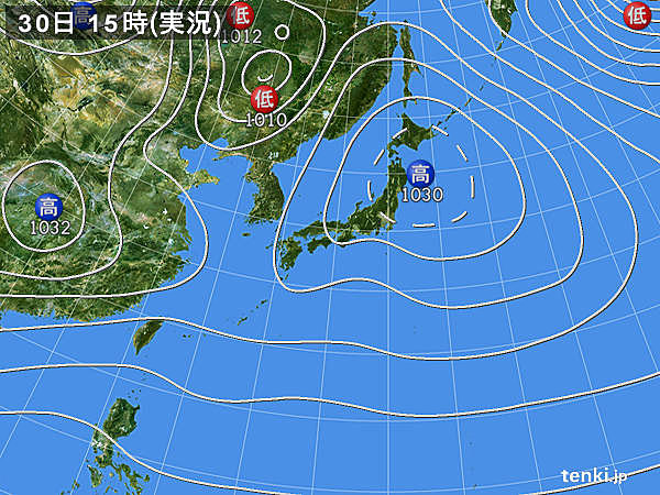 実況天気図(2016年11月30日)