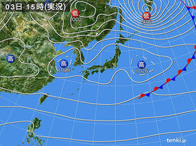 実況天気図(2016年12月03日)