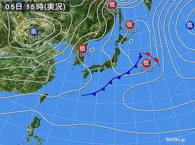 実況天気図(2016年12月05日)