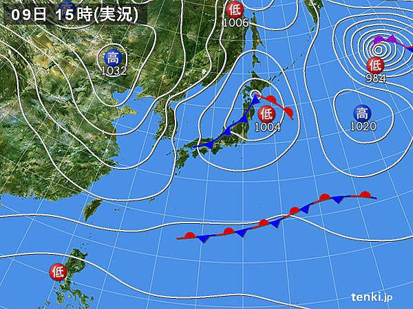 実況天気図(2016年12月09日)
