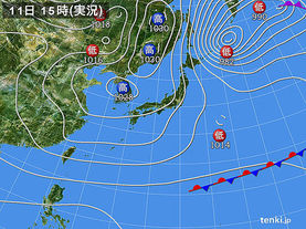 実況天気図(2016年12月11日)