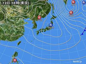 実況天気図(2016年12月12日)