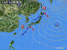 実況天気図(2016年12月13日)
