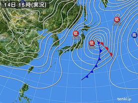 実況天気図(2016年12月14日)