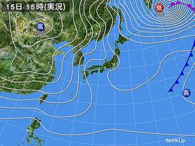 実況天気図(2016年12月15日)