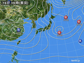 実況天気図(2016年12月16日)