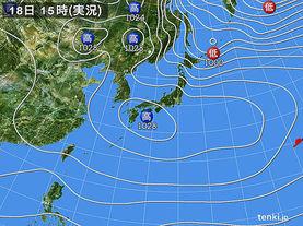 実況天気図(2016年12月18日)