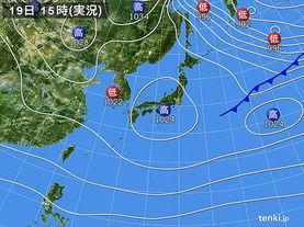 実況天気図(2016年12月19日)