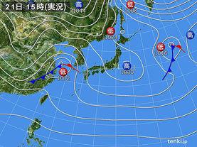 実況天気図(2016年12月21日)