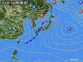 実況天気図(2016年12月22日)