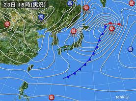 実況天気図(2016年12月23日)