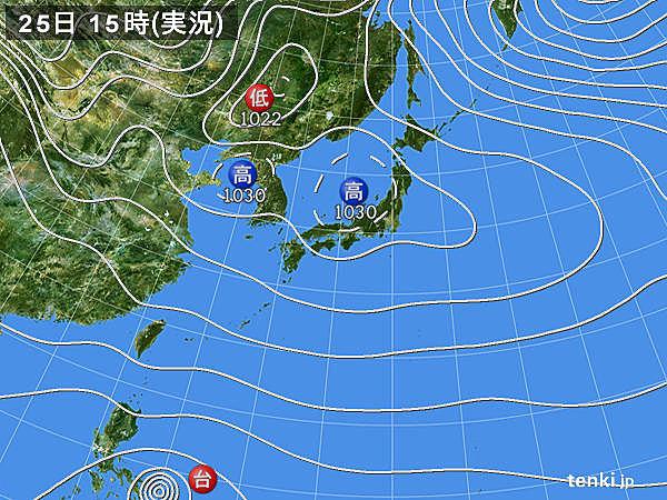 実況天気図(2016年12月25日)