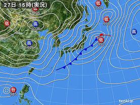 実況天気図(2016年12月27日)