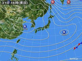 実況天気図(2016年12月31日)