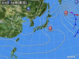 実況天気図(2017年01月04日)