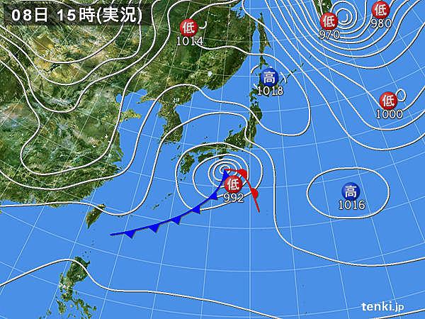 実況天気図(2017年01月08日)
