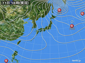 実況天気図(2017年01月11日)