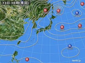 実況天気図(2017年01月13日)