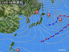 実況天気図(2017年01月14日)