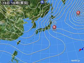 実況天気図(2017年01月16日)