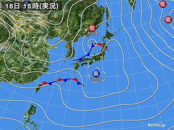 実況天気図(2017年01月18日)