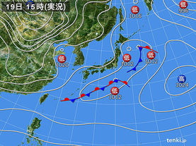 実況天気図(2017年01月19日)