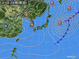 実況天気図(2017年01月21日)