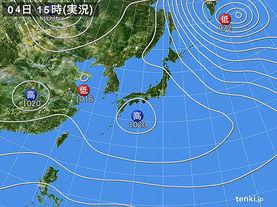 実況天気図(2017年02月04日)