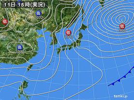 実況天気図(2017年02月11日)