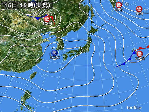 実況天気図(2017年02月15日)