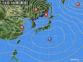 実況天気図(2017年02月16日)