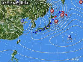実況天気図(2017年02月17日)