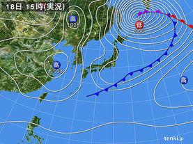 実況天気図(2017年02月18日)