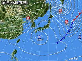 実況天気図(2017年02月19日)