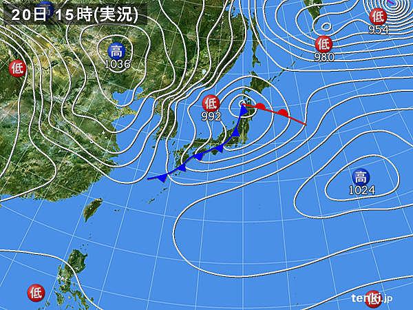 実況天気図(2017年02月20日)