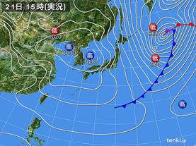 実況天気図(2017年02月21日)