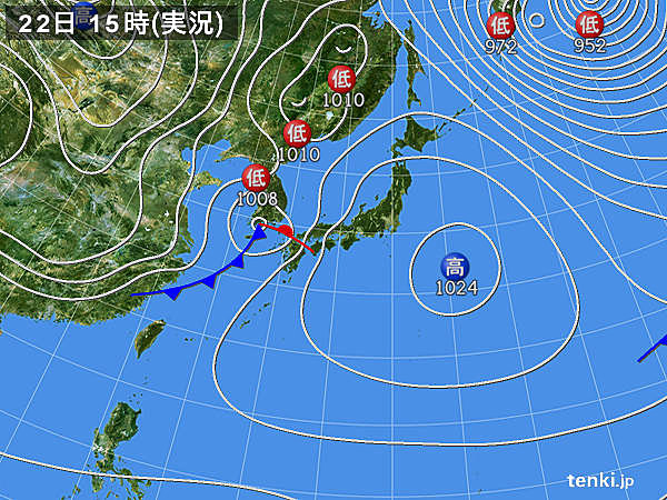 実況天気図(2017年02月22日)
