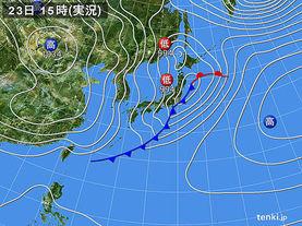 実況天気図(2017年02月23日)
