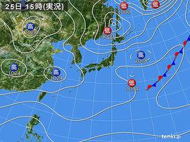 実況天気図(2017年02月25日)