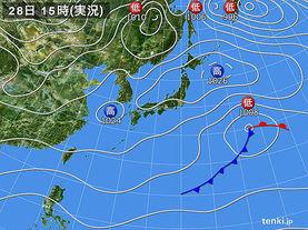 実況天気図(2017年02月28日)