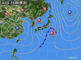 実況天気図(2017年03月02日)