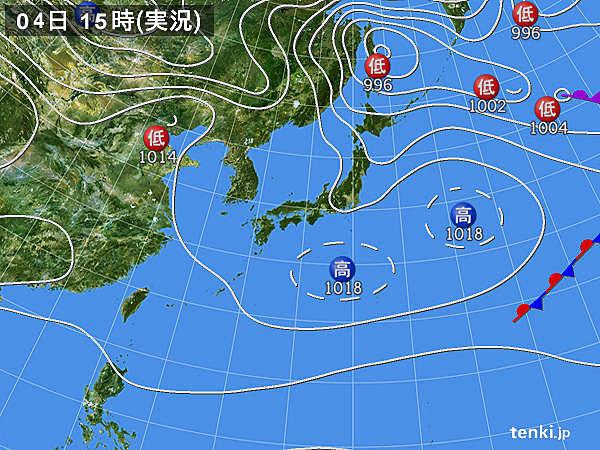 実況天気図(2017年03月04日)