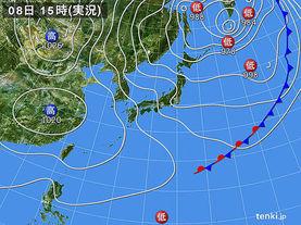 実況天気図(2017年03月08日)