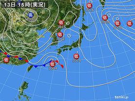 実況天気図(2017年03月13日)