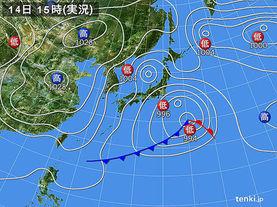 実況天気図(2017年03月14日)