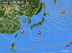 実況天気図(2017年03月18日)