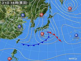 実況天気図(2017年03月21日)