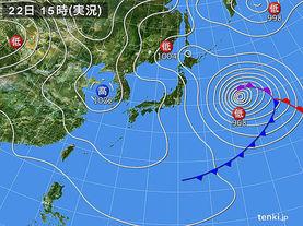 実況天気図(2017年03月22日)